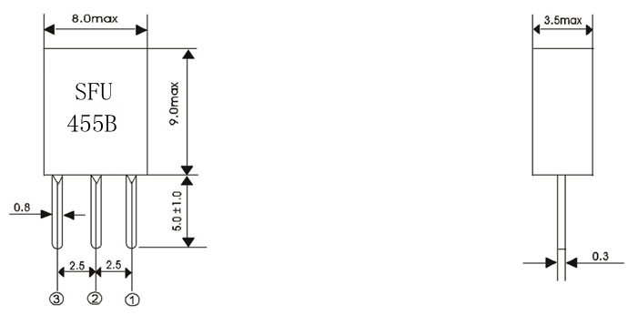 "455BSFU,陶瓷滤波器,收音机滤波器,陶瓷晶振,千赫子压电陶瓷谐振器片状型产品,一般电子产品用标准频率公差型,利用康华尔电子独创的封装技术,实现了千赫频率""陶瓷谐振器"".该系列非常适合用于微型遥控装置和AV模块中.可采用回流焊接,可使用自动贴片机高速自动贴装焊接,被公司CRB系列低频陶瓷谐振器系列已批量生产,常规型号长期被有现货."