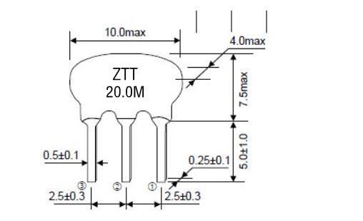 """ZTT20.0M,三脚陶瓷晶振,陶瓷晶体,三脚陶瓷晶振,跟贴片的区别在于SMD是编带方式包装,焊接方面支持表面贴装,可对应产品应用到自动贴片机高速安装,是指晶振内部本身有自带负载电容的陶瓷谐振器, """"压电陶瓷"""", 与CR,LC电路不同,陶瓷振荡子利用的是机械谐振而不是像压电石英晶体一样电谐振的方式起振."""